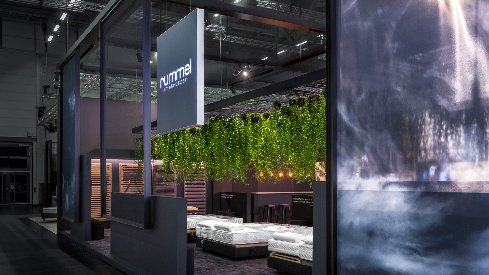 Dart stages the Rummel Matratzen fair stand at the imm cologne 2019