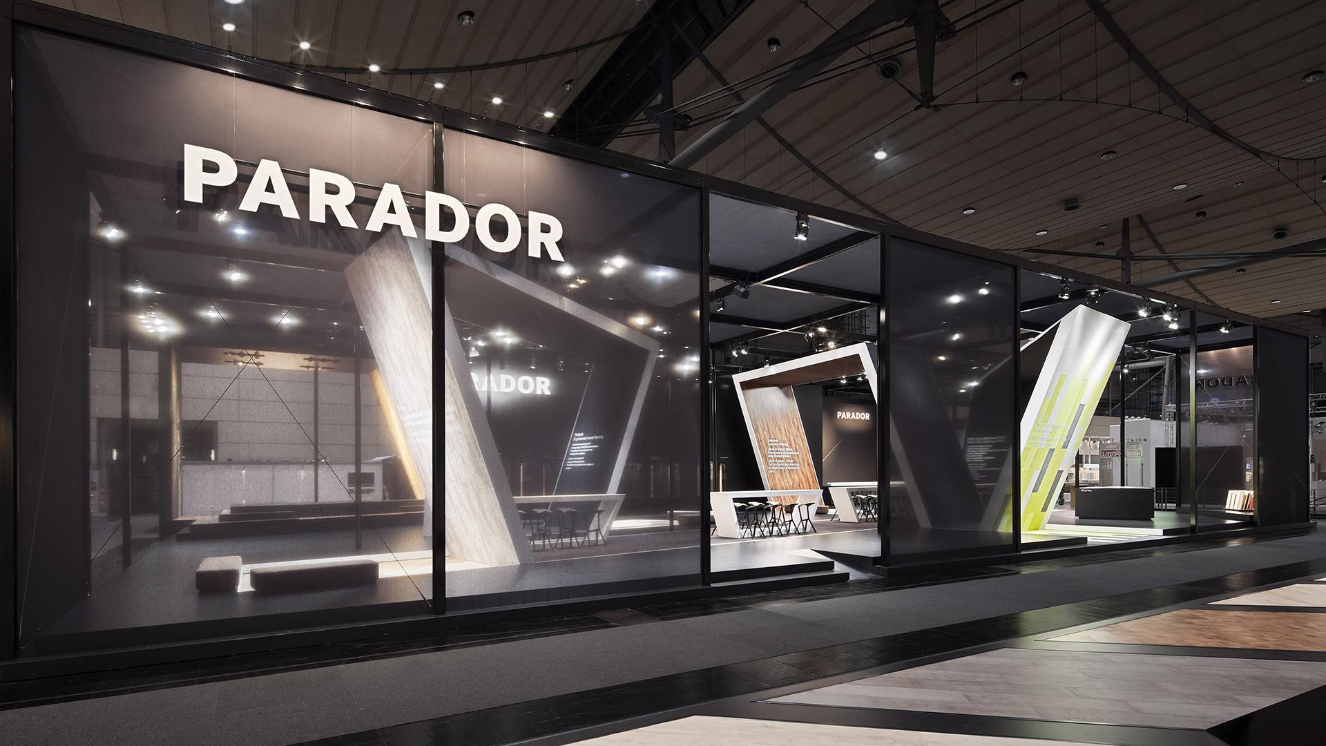 Dart iszeniert den Messestand von Parador auf der Domotex 2014